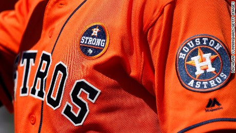 "The ""Houston Strong"" patch on the Astros' uniforms, worn as a gesture for Harvey's victims."
