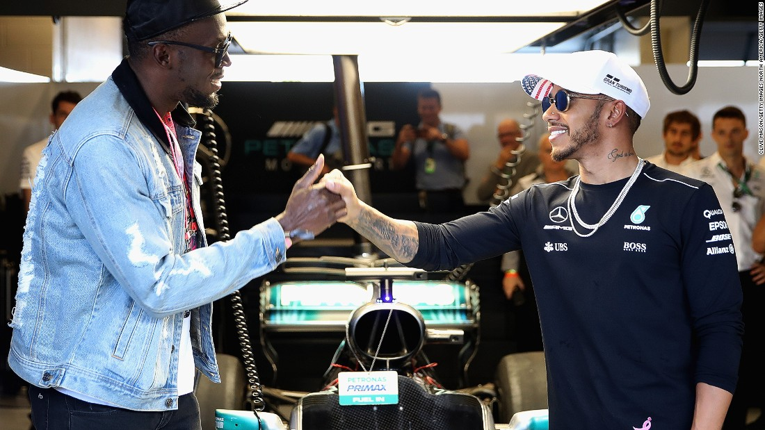 Sprinting legend Usain Bolt pays a visit to Lewis Hamilton in the Mercedes garage at the Circuit of the Americas ahead of Sunday's grand prix.