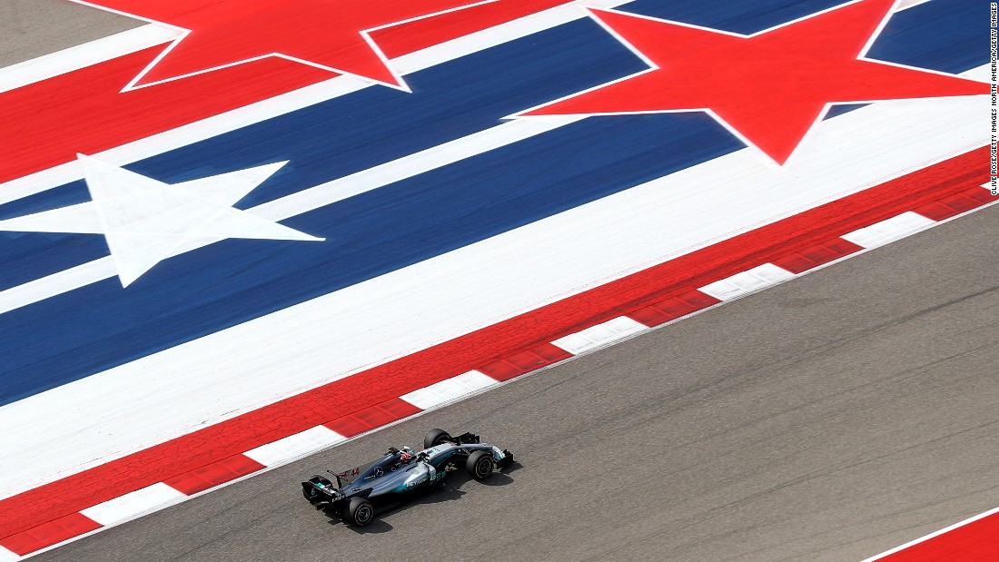 Lewis Hamilton on track at the Circuit of the Americas. The Briton came into the race with a 59-point lead over title rival Sebastian Vettel.
