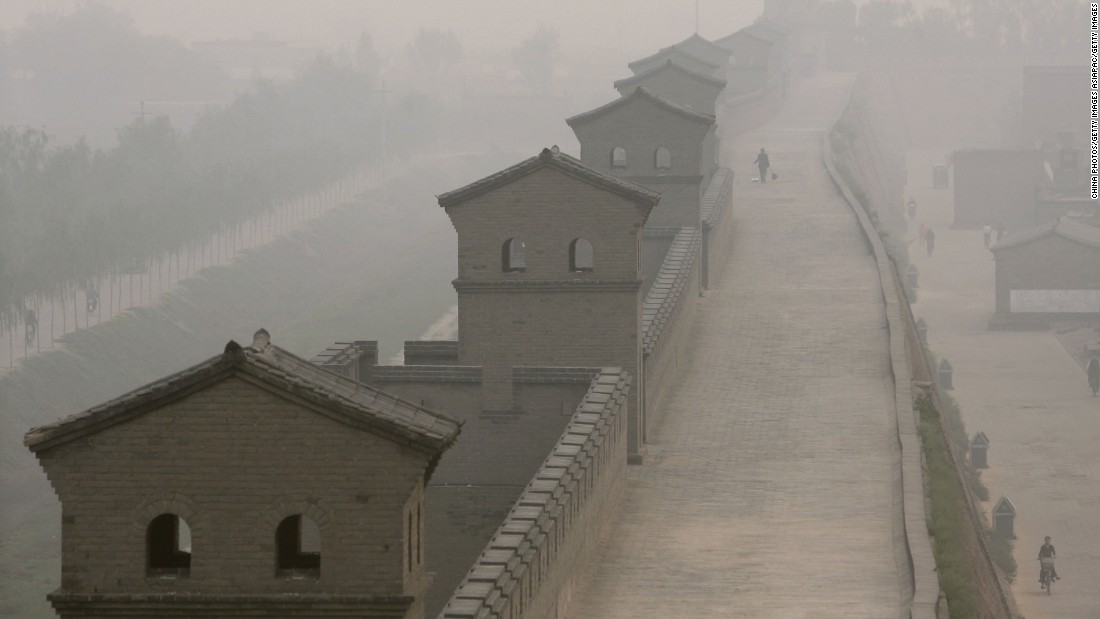 Construction of the wall that surrounds Pingyao started in 1370 AD. It is 3.7 miles (6 kilometers) long.