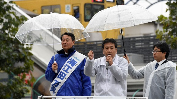 Yukio Edano, head of the Constitutional Democratic Party of Japan, rallies supporters in Tokyo on October 19.