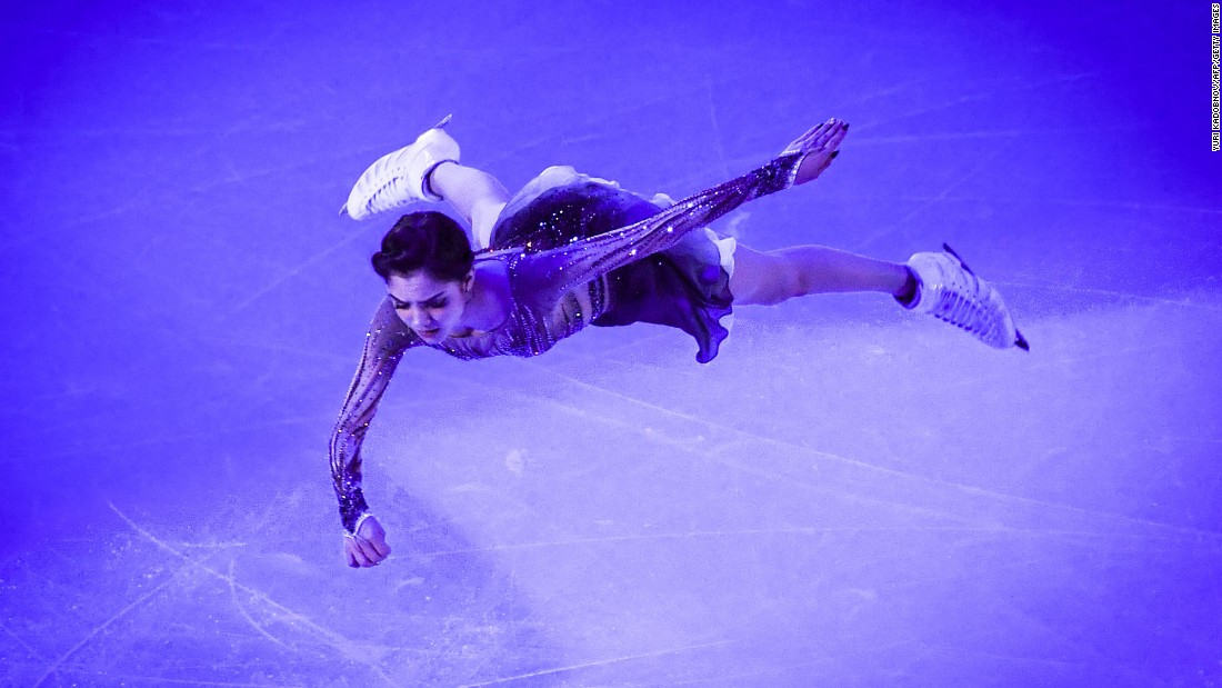 Russian figure skater Evgenia Medvedeva performs during the gala exhibition of the Rostelecom Cup on Sunday, October 22. She won the competition a day earlier in Moscow. It was the first event of this season's Grand Prix of Figure Skating.
