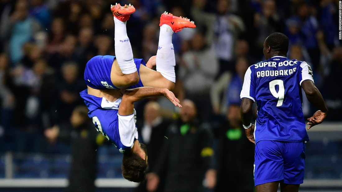 Porto defender Felipe celebrates his goal with a flip during a Portuguese league match against Pacos de Ferreira on Saturday, October 21. Porto won 6-1.