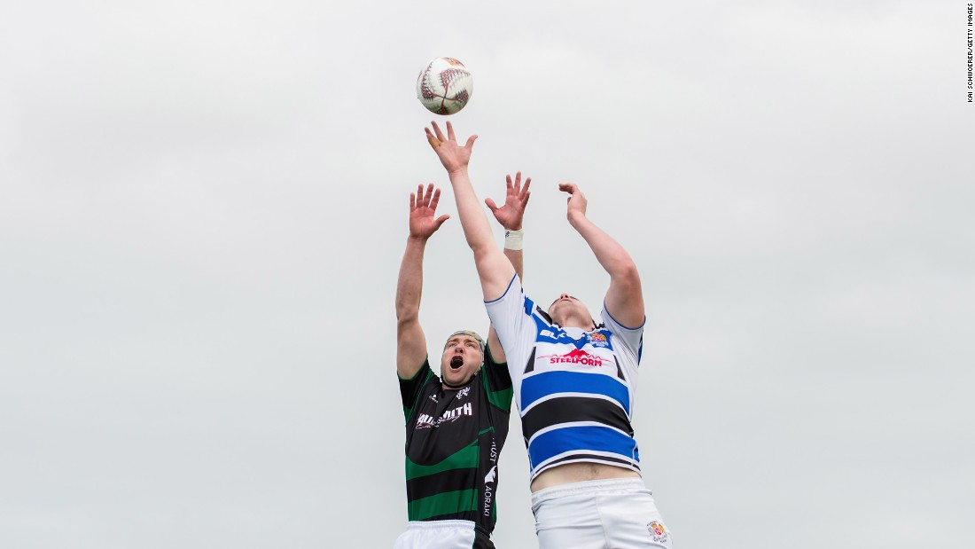 South Canterbury's Luke Brice, left, and Wanganui's Campbell Hart compete for a lineout during a rugby match in Timaru, New Zealand, on Saturday, October 21.
