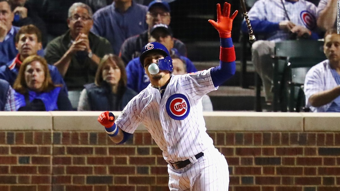 Chicago Cubs second baseman Javier Baez blows a bubble after hitting a home run in Game 4 of the National League Championship Series on Wednesday, October 18. The Cubs won the game but lost the series.