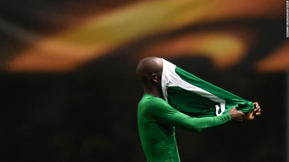 Jody Lukoki, a forward with the Bulgarian soccer club Ludogorets, takes off his jersey in Braga, Portugal, on Thursday, October 19. Ludogorets defeated Braga 2-0 in a Europa League group stage match.