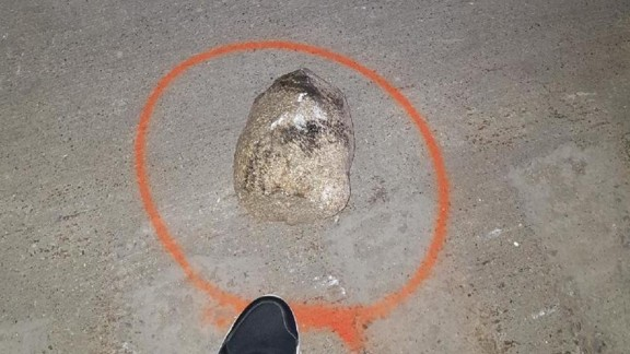Police said this is the rock that was thrown off the overpass.