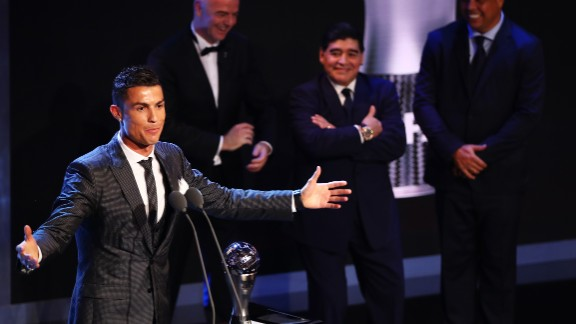 Cristiano Ronaldo collects his award as the Best FIFA men's player 2017.