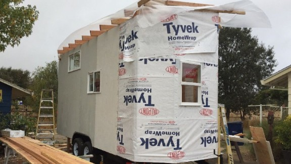 One of the tiny houses Charlie McEvoy is building for Northern California wildfire victims.