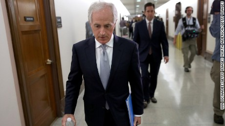 WASHINGTON, DC - OCTOBER 24:  Sen. Bob Corker (R-TN) walks to a committee hearing after speaking to members of the press on Capitol Hill about U.S. President Donald Trump October 24, 2017 in Washington, DC.