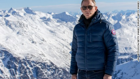 Actor Daniel Craig poses in Soelden, Austria, during the filming of the James Bond film 'spectre'