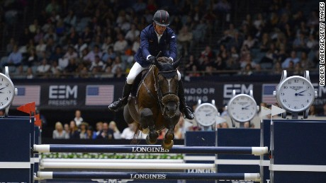 LONG BEACH, CA - OCTOBER 2: Harrie Smolders of The Netherlands during the Longines Grand Prix event at the Longines Masters of Los Angeles 2016 at the Long Beach Convention Center on October 2, 2016 in Long Beach, California. (Photo by Robert Laberge/Getty Images)