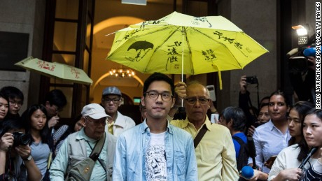 Pro-democracy activist Nathan Law leaves Hong Kong's Court of Final Appeal on Tuesday.