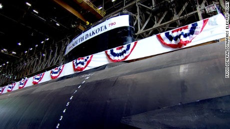 An image taken from the video released by General Dynamics Electric Boat shows the newly christened USS South Dakota.