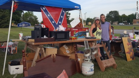 Jennifer Fink and her boyfriend JayJay Wilson sell some of Fink's belongings in Rockfield, Kentucky. (Holly Yan/CNN)