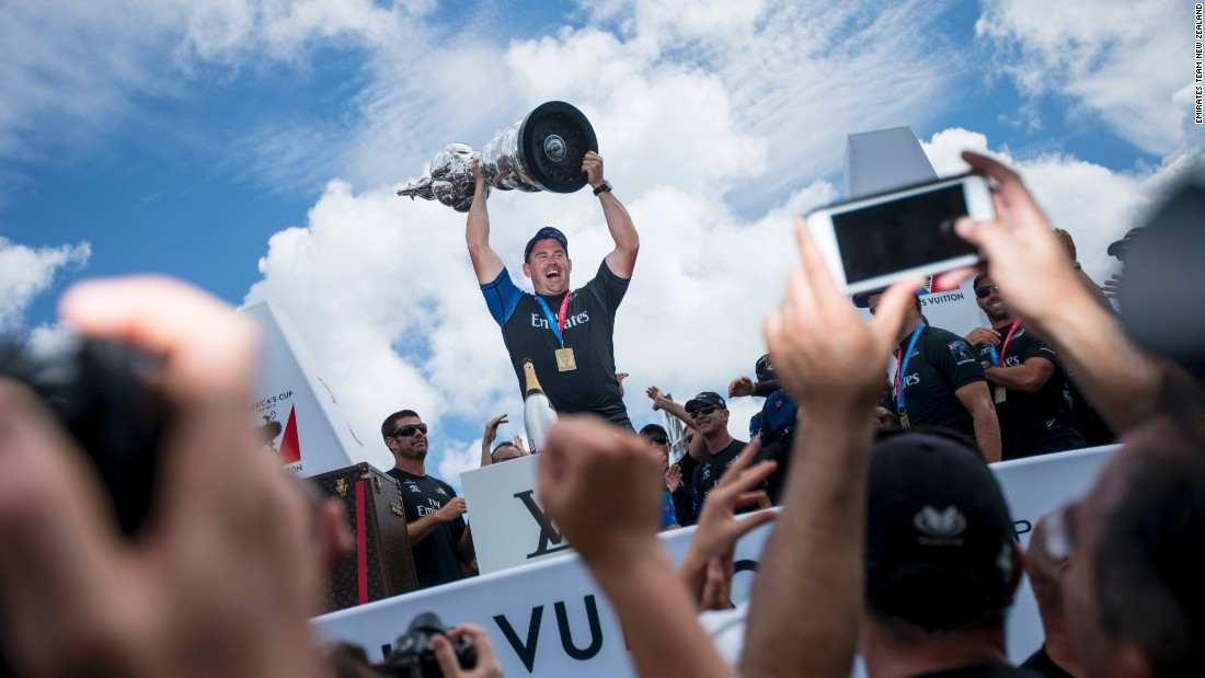 Sullivan lifts the America's Cup in New Zealand, ticking off what he describes as one of the dreams of every five-year-old in New Zealand.