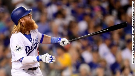 Justin Turner of the Los Angeles Dodgers reacts after hitting a two-run home run during the sixth inning in Game 1 of the 2017 World Series.