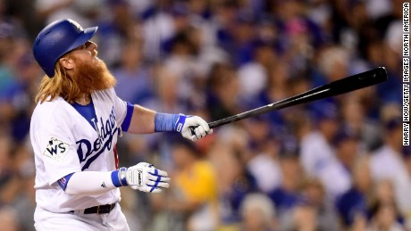 LOS ANGELES, CA - OCTOBER 24:  Justin Turner #10 of the Los Angeles Dodgers reacts after hitting a two-run home run during the sixth inning against the Houston Astros in game one of the 2017 World Series at Dodger Stadium on October 24, 2017 in Los Angeles, California.  (Photo by Harry How/Getty Images)