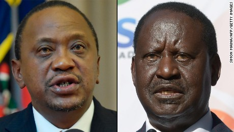 Kenya's current president, Uhuru Kenyatta (left) and Kenya's opposition leader, Raila Odinga (right)