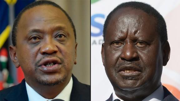 Kenya's current president, Uhuru Kenyatta (left) and Kenya's opposition leader, Raila Odinga (right)