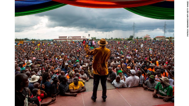 Raila Odinga, of the opposition National Super Alliance coalition, delivers a speech to supporters at a rally in Kisumu on Friday.