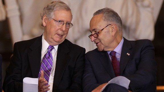 WASHINGTON, DC - OCTOBER 25:  U.S. U.S. Senate Majority Leader Sen. Mitch McConnell (R-KY) (L) chats with Senate Minority Leader Sen. Chuck Schumer (D-NY) (R) during a Congressional Gold Medal presentation ceremony October 25, 2017 at the U.S. Capitol Visitor Center in Washington, DC. (Alex Wong/Getty Images)
