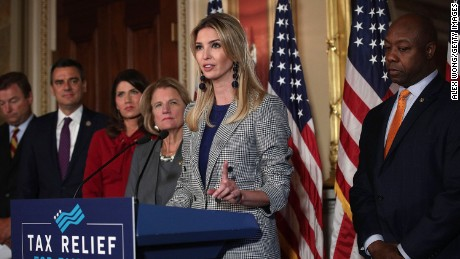 WASHINGTON, DC - OCTOBER 25: Ivanka Trump (2nd R), adviser and daughter of President Donald Trump, speaks as (L-R) U.S. Sen. Dean Heller (R-NV), Rep. Kevin Yoder (R-KS), Rep. Kristi Noem (R-SD), Sen. Shelley Moore Capito (R-WV) and Sen. Tim Scott (R-SC) listen during a news conference October 25, 2017 at the Capitol in Washington, DC.  (Alex Wong/Getty Images)