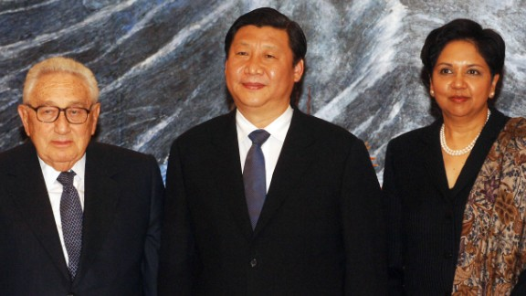 As Shanghai's party secretary in 2007, Xi welcomes former US Secretary of State Henry Kissinger and Pepsi President and CEO Indra Krishanamurthy Nooyi.