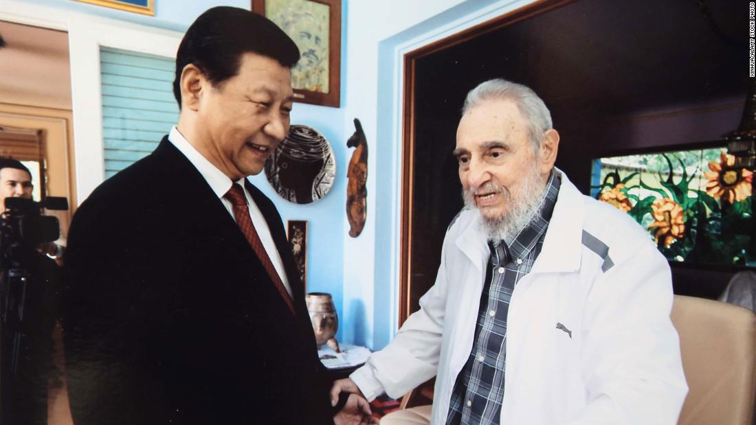Xi visits Cuban leader Fidel Castro in Havana, Cuba, in 2014.