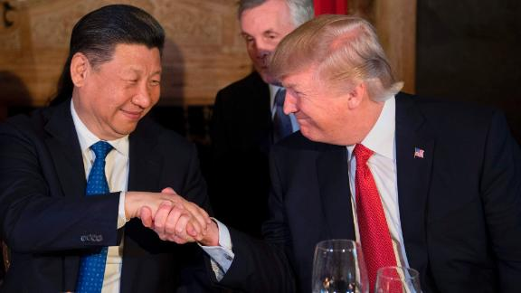 Xi has dinner with US President Donald Trump at Trump's Mar-a-Lago resort in Florida in April 2017.