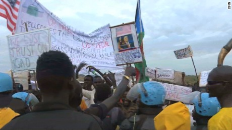 South Sudan Juba protests against US