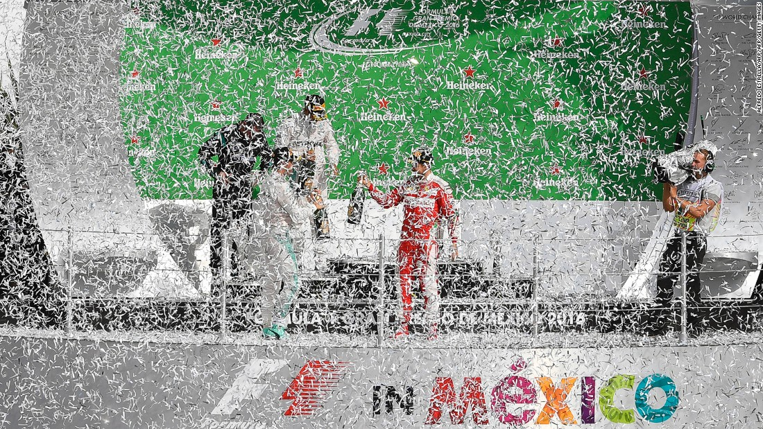 Podium celebrations at the 2016 Mexico Grand Prix ... The vibrant atmosphere in Mexico City has made the grand prix one of the most popular on the calendar.
