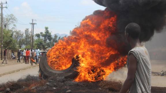 Opposition supporters burn tires during protests in Kisumu on Thursday.