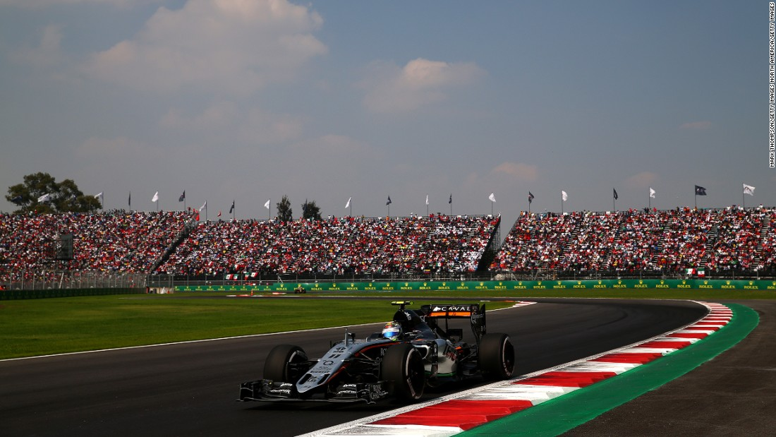 Sergio Perez  is pictured in action at the 2015 race. Perez, who drives for Force India, is the only Mexican driver on the grid this year.