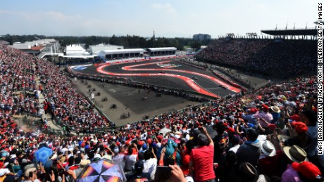 The stadium section at the Mexican Grand Prix is packed with fans during race weekend.