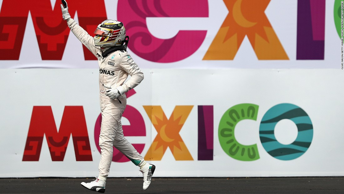 Lewis Hamilton celebrates victory at the 2016 Mexican Grand Prix. The Mercedes driver needs just 10 points this year to clinch the 2017 F1 world title.