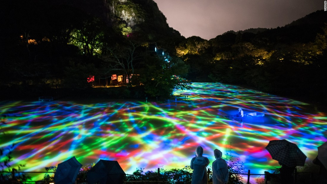 Shimmering lights and fish were projected onto the surface of Mifuneyama Rakuen Pond.