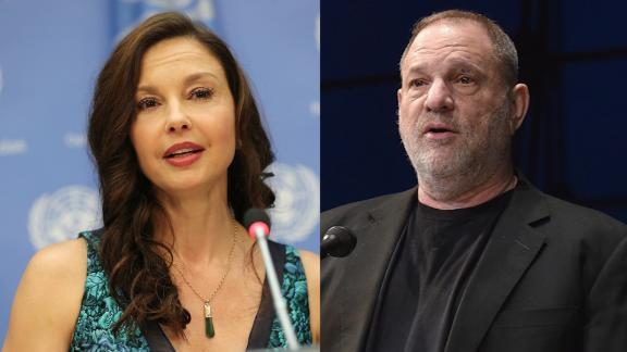 NEW YORK, NY - MARCH 15: Actress/activist Ashley Judd speaks at a press conference held to announce her appointment as The UN Population Fund's (UNFPA) Goodwill Ambassador at United Nations on March 15, 2016 in New York City. (Photo by Jemal Countess/Getty Images)  NEW YORK, NY - APRIL 19: Co-Chairman of The Weinstein Company Harvey Weinstein speaks at National Geographic's Further Front Event at Jazz at Lincoln Center on April 19, 2017 in New York City. (Photo by Bryan Bedder/Getty Images for National Geographic)