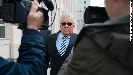 Former Guatamalan judge Hector Trujillo arrives for sentencing October 25, 2017 at Brooklyn Federal Court in New York.     A 63-year-old former Guatemalan football official is expected Wednesday to become the first person sentenced by a US judge over the sweeping corruption scandal that rocked world soccer. The US investigation, first unveiled in May 2015, has seen federal prosecutors in New York indict around 40 football and sports marketing executives with allegedly receiving tens of millions of bribes and kickbacks.Like many of the indicted, Hector Trujillo cut a deal with prosecutors and pleaded guilty to one count of wire fraud and one count of wire fraud conspiracy in a US federal court in Brooklyn four months ago.  / AFP PHOTO / Don EMMERT        (Photo credit should read DON EMMERT/AFP/Getty Images)