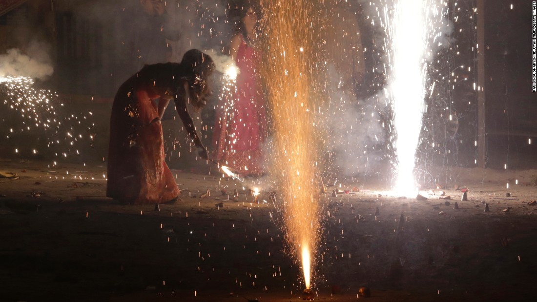 "<strong>New Delhi:</strong> People light fireworks for Diwali, dubbed the ""festival of lights,"" one of India's most important celebrations."