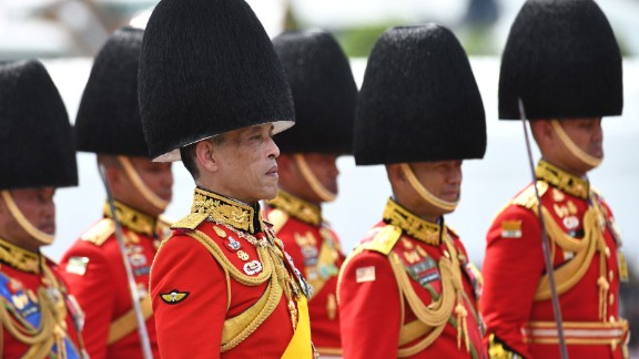 Thai King Maha Vajiralongkorn  takes part in the funeral procession.