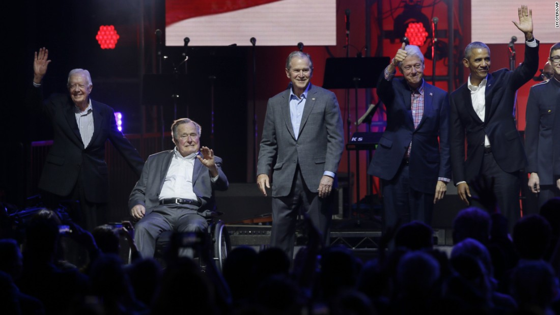 "From left, former US Presidents Jimmy Carter, George H.W. Bush, George W. Bush, Bill Clinton and Barack Obama gather at the start of <a href=""http://www.cnn.com/2017/10/21/politics/hurricane-relief-concert-five-former-presidents/index.html"" target=""_blank"">a hurricane-relief concert</a> in College Station, Texas, on Saturday, October 21. President Donald Trump appeared in a taped video message to the concertgoers."