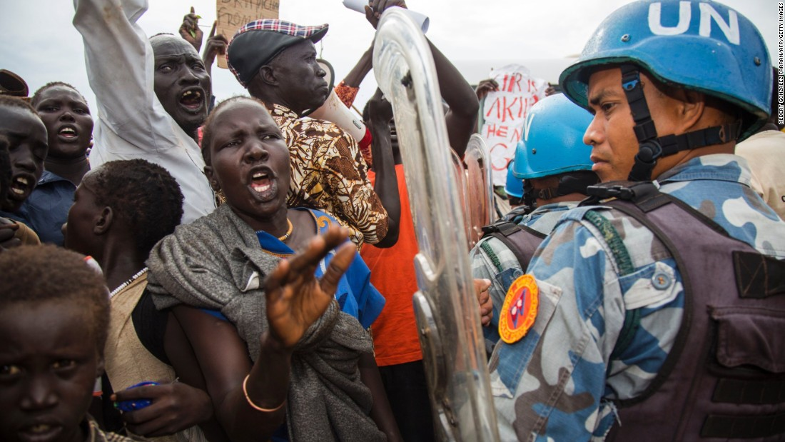 "Internally displaced people in Juba, South Sudan, demonstrate Wednesday, October 25, during the visit of Nikki Haley, US ambassador to the United Nations. Haley <a href=""http://www.cnn.com/2017/10/25/politics/nikki-haley-warning-south-sudan/index.html"" target=""_blank"">issued a stern warning</a> to South Sudan's President on Wednesday, telling him ""the hate and the violence that we are seeing has to stop,"" or the United States will reconsider its financial support for the country. South Sudan is the world's youngest country, having gained independence from Sudan in 2011, but it has been embroiled in a violent civil conflict for nearly its entire existence."