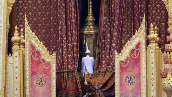The ceremonial urn of Thailand's late King Bhumibol Adulyadej is transported during the funeral procession and royal cremation ceremony in Bangkok, Thailand, Thursday, Oct. 26, 2017.