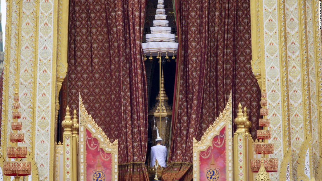 "The ceremonial urn of Thailand's late King, Bhumibol Adulyadej, is transported during his funeral procession and royal cremation ceremony on Thursday, October 26. An endless sea of black-clad mourners filled Bangkok's streets <a href=""http://www.cnn.com/2017/10/25/asia/thailand-king-bhumibol-adulyadej-cremation/index.html"" target=""_blank"">to say a final goodbye</a> to their beloved monarch."