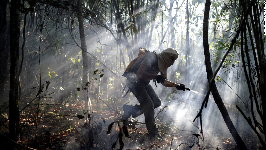 A volunteer works to put out a forest fire in Alto Paraiso de Goias, Brazil, on Tuesday, October 24.