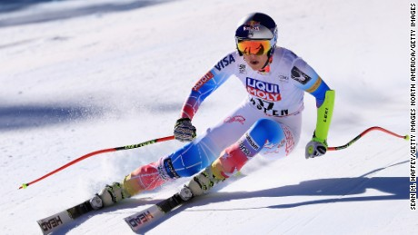 Vonn is pictured competing in the women's Super-G on March 16, 2017 in Aspen, Colorado.