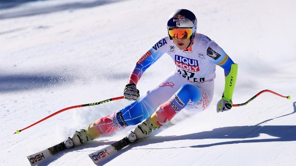 Vonn is pictured competing in the women
