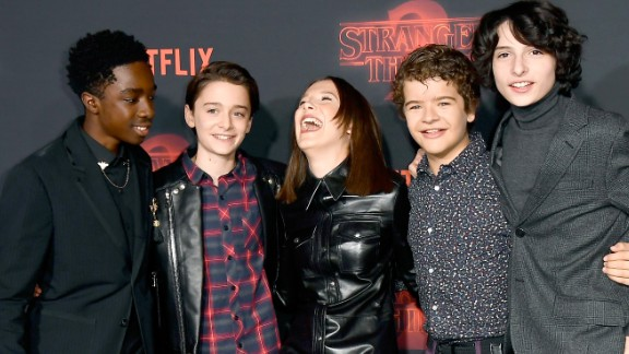 LOS ANGELES, CA - OCTOBER 26:  (L-R) Caleb McLaughlin, Noah Schnapp, Millie Bobby Brown, Gaten Matarazzo, and Finn Wolfhard attend the premiere of Netflix