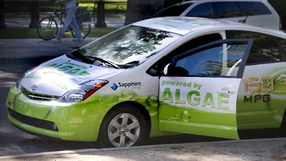 Algae are small aquatic organisms that produce energy from carbon dioxide and sunlight and store it in the form of oil. This can be converted into biodiesel.  This modified Toyota Prius -- known as The Algaeus --  runs on electricity and biofuels made from algae.